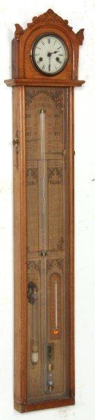 Wall Hanging Stick Barometer & Clock