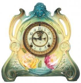 "Ansonia Royal Bonn China Clock ""la Chapelle"""