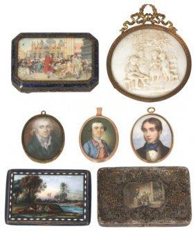 7 Pcs. Miniature Paintings & Cases