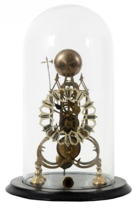Pierced Brass Fusee Skeleton Clock