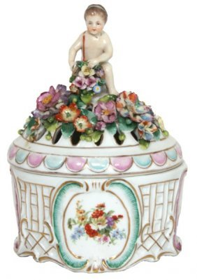 Sitzendorf Figural Porcelain Covered Jar
