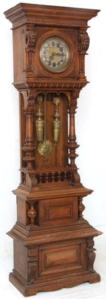 German Oak Floor Standing Clock