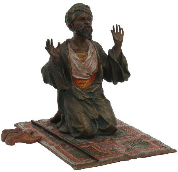 Bergman Cold Painted Bronze Arab In Prayer