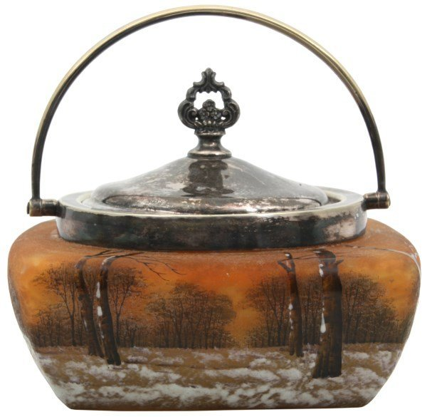 Daum Nancy Enamel Decorated Biscuit Jar