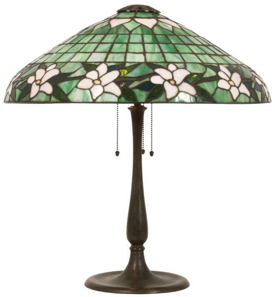 22 in. Suess Leaded Floral Table Lamp