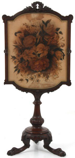 Carved Rosewood Fire Screen