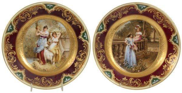 Pr. 9.5 in. Royal Vienna Porcelain Plates
