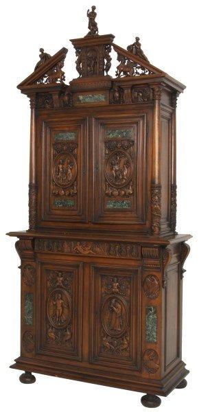 Carved Walnut 2 Part Cabinet