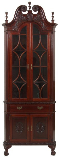 Chippendale Mahogany Carved Corner Cabinet