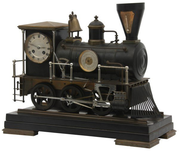 French Animated Locomotive Industrial Clock