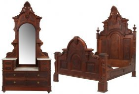 2 Pc. Carved Walnut Marble Top Bed Set