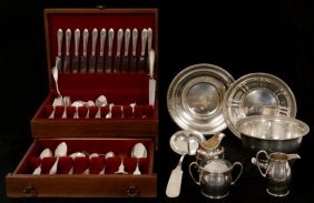 148 Assorted Silver Pieces W/ Walnut Case