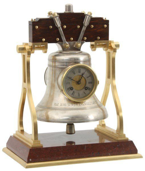 French Industrial Marble & Bronze Bell Clock