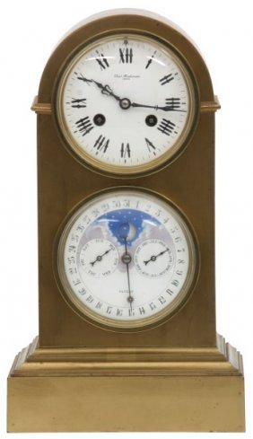 Bronze Double Dial Calendar Mantle Clock