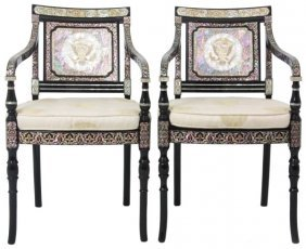 Inlaid Korean Lacquer Embassy Chairs