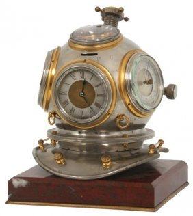 French Industrial Diver's Helmet Desk Clock