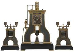 3 Pcs. French Industrial Steam Hammer Clock