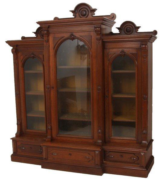 3 Door Stepback Walnut Bookcase