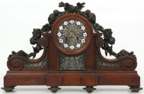 Bronze Mounted Oak Mantle Clock