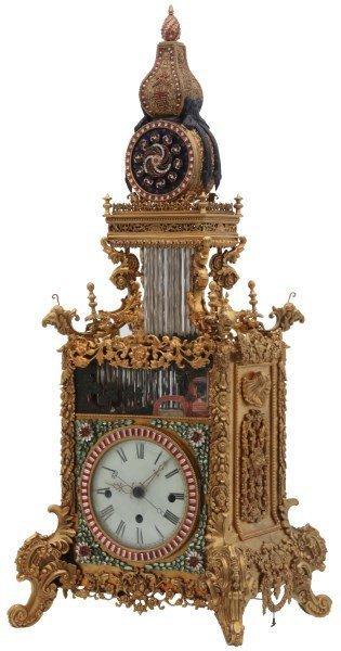 Rare Chinese Animated Triple Fusee Bracket Clock
