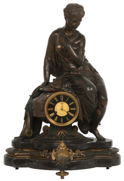 Marble & Bronze French Figural Mantle Clock