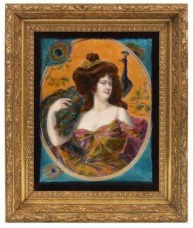 French Enamel Decorated Portrait Plaque