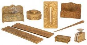 8 Tiffany Studios Bronze Desk Set Pieces
