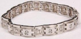"18k Cartier ""love"" Style Link Bracelet"