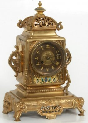 French Bronze Chinoiserie Mantle Clock