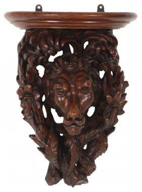 Figural Lion Carved Walnut Wall Bracket