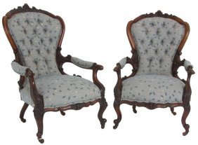 Pr. Heavily Carved Walnut Parlor Armchairs