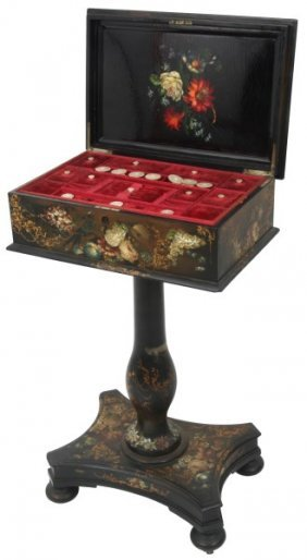 Black Lacquer & Mother Of Pearl Sewing Stand