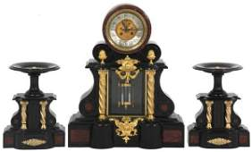 3 Pc French Marble  Brass Clock Set