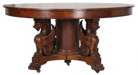 60 In. Oak Winged Griffin Dining Table