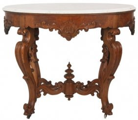 Pierced Carved Walnut Marble Top Table