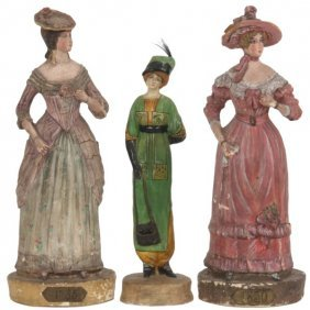 3 Paper Mache Fashion Figures
