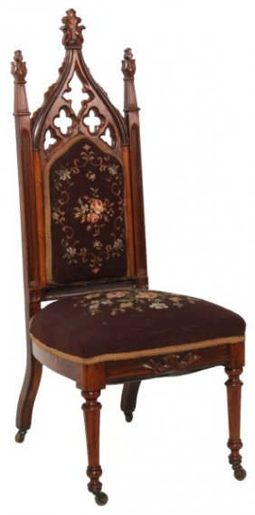 Gothic Carved Rosewood Sidechair