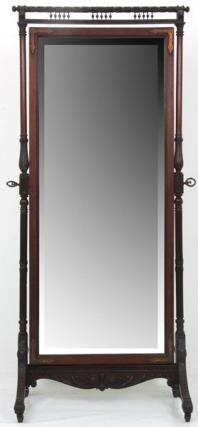 Unusual Mahogany Double Sided Cheval Mirror