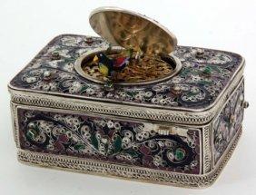 Silver, Enamel & Gemstone Animated Bird Box