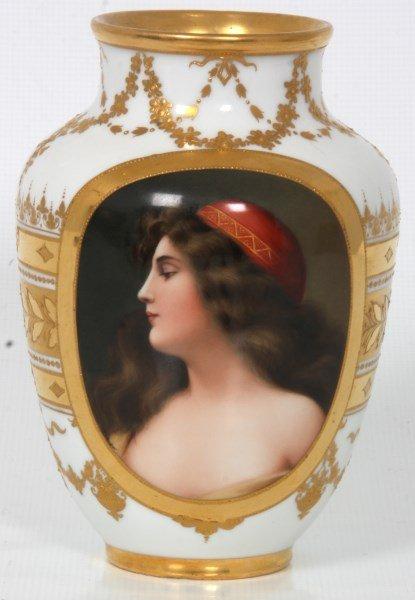 Royal Vienna Porcelain Portrait Vase - 2