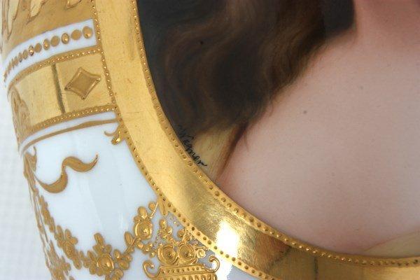 Royal Vienna Porcelain Portrait Vase - 9