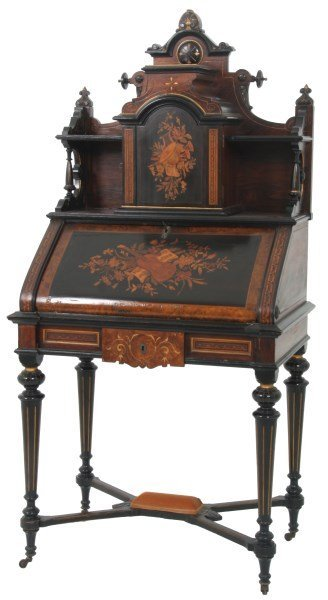 Renaissance Revival Inlaid Writing Desk