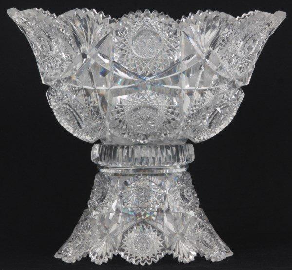 Chrysanthemum Pattern Cut Glass Punchbowl