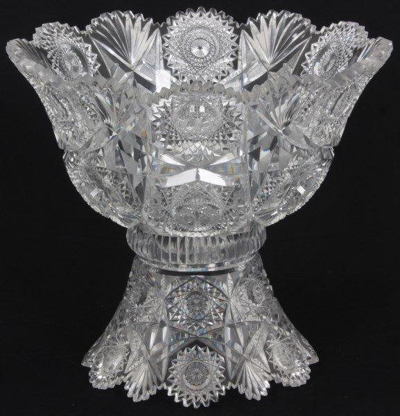 Chrysanthemum Pattern Cut Glass Punchbowl - 3