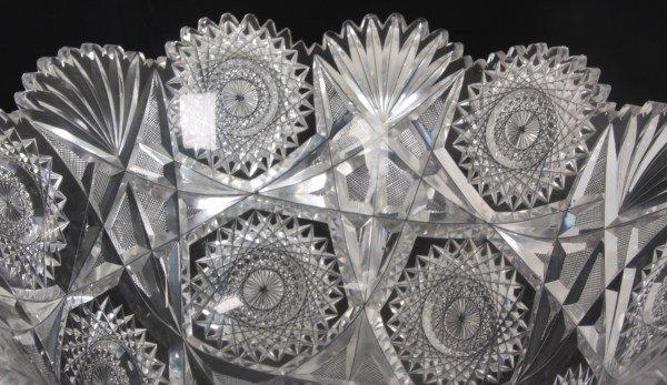 Chrysanthemum Pattern Cut Glass Punchbowl - 4