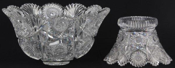 Chrysanthemum Pattern Cut Glass Punchbowl - 6