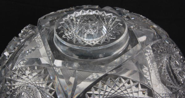 Chrysanthemum Pattern Cut Glass Punchbowl - 9