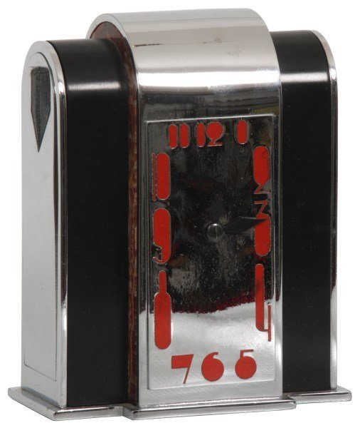 Marble & Nickel Plated Deco Desk Clock
