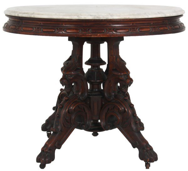 Oval Marble Top Griffin Parlor Table