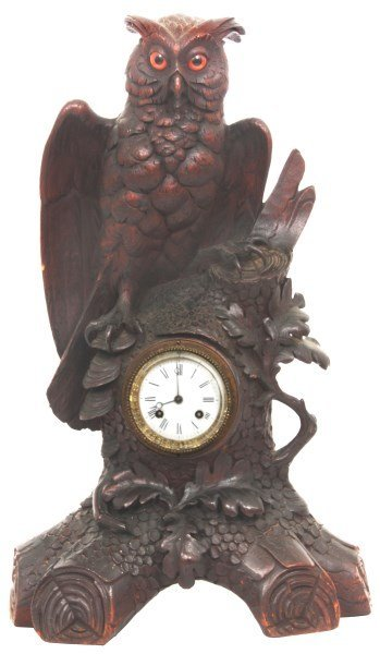 Lg. Black Forest Carved Owl Mantle Clock